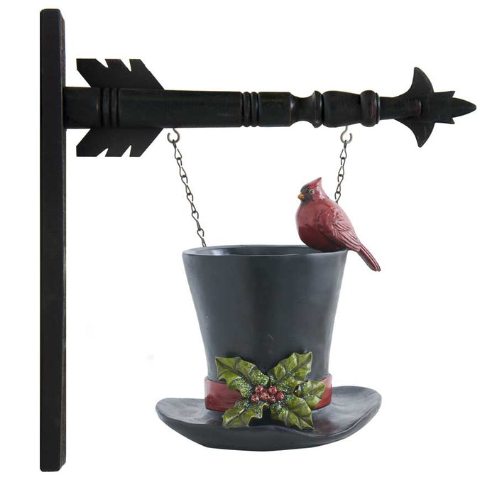 Black Resin Top Hat Vase w/ Cardinal Arrow Replacement Sign - SPECIAL ORDER