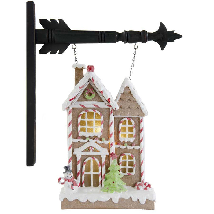 Glittered Frosted LED Gingerbread House Arrow Replacement Sign