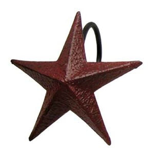 Burgundy Star Shower Curtain Hooks