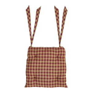 Burgundy Check Chair Pad by VHC Brands - DL Country Barn