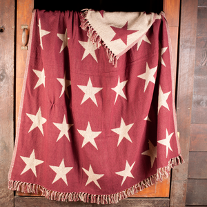 Burgundy Star Woven Throw by VHC Brands - DL Country Barn