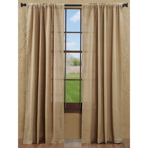 Burlap Natural Tan Panel Curtains | Country Farmhouse Style Curtain