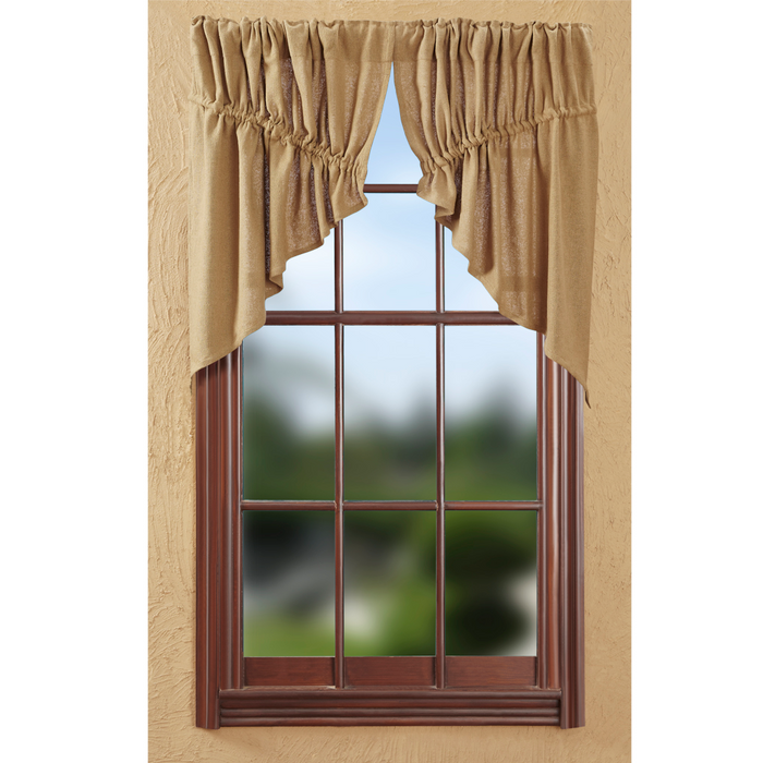 Burlap Natural Tan Prairie Swag Curtain