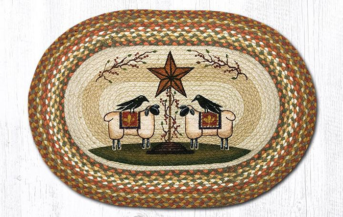 20x30 Sheep & Barn Star Oval Jute Rug