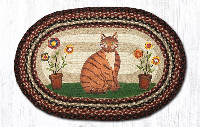 20x30 Folk Art Cat Oval Jute Rug