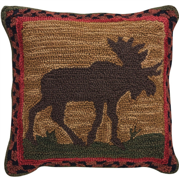 Moose Hooked Pillow Dl Country Barn