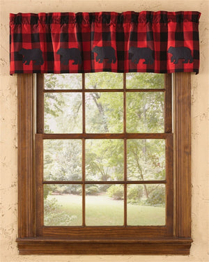 Buffalo Check Bear Appliqué Valance