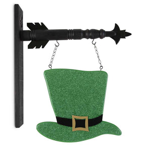 Green Glittered St Patrick Hat Arrow Replacement Sign