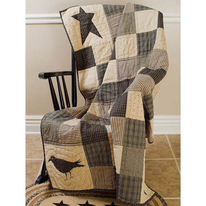 Kettle Grove Crow & Star Quilted Throw