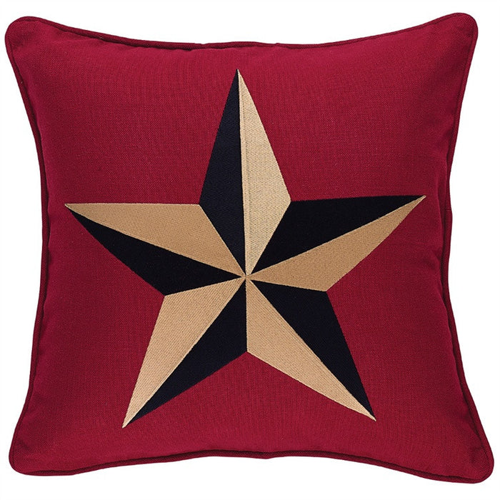 Embroidered Star on Red Pillow 20 inch