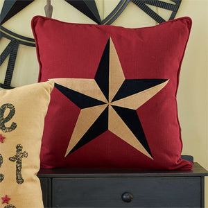 Embroidered Star on Red Pillow 20 inch | Decorative Accent Pillow