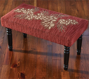 Pinecone Hooked Bench | Rustic Furniture