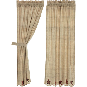 "Abilene Star Short Panel Curtains 63""L"