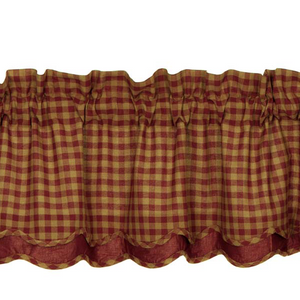 Burgundy Check Scalloped Layered Valance
