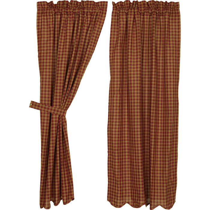 "Burgundy Check Scalloped Short Panel Curtains 63""L"
