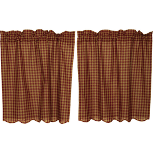 "Burgundy Check Scalloped Tier Curtains 36""L"