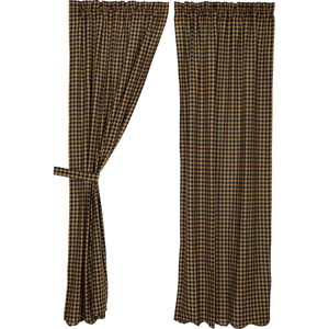 "Black Check Scalloped Panel Curtains 84""L"
