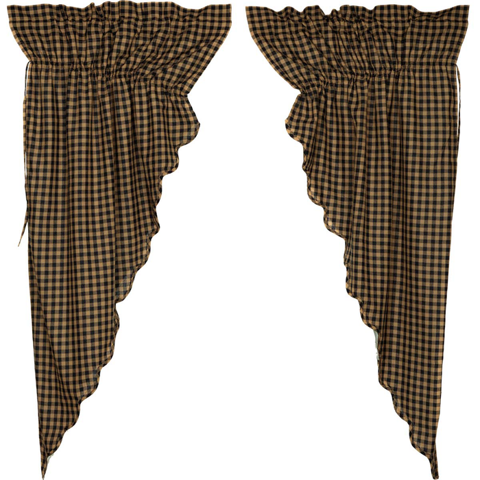 Black Check Scalloped Prairie Curtain