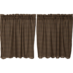 "Black Check Scalloped Tier Curtains - 36""L"