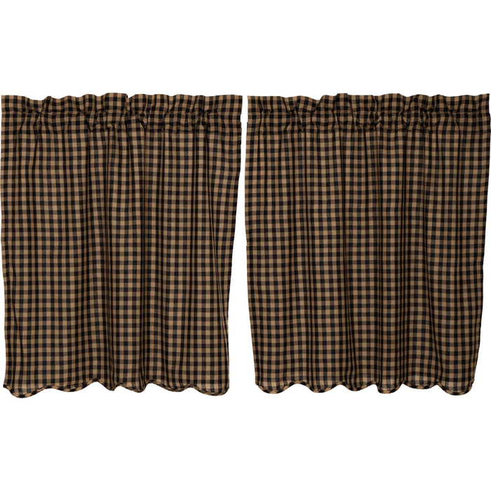 Black Check Scalloped Tier Curtains (Choose Size)