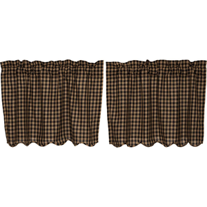 "Black Check Scalloped Tier Curtains - 24""L"