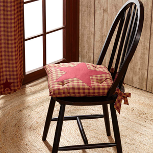 Burgundy Star Check Chair Pad