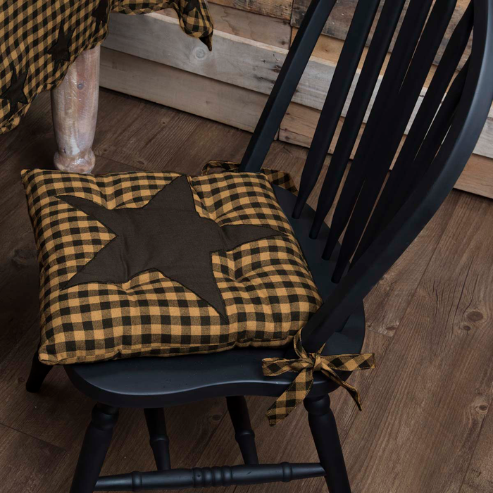 Black Star Check Chair Pad
