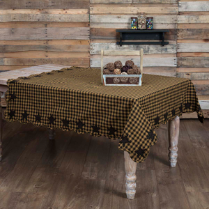 Black Star Scalloped Tablecloth (Choose Size)