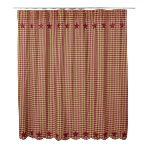 Burgundy Star Shower Curtain | Country Primitive Shower Curtain
