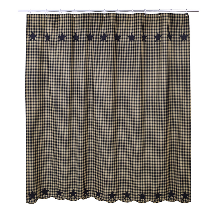 Black Star Scalloped Shower Curtain