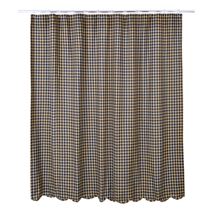 Black Check Scalloped Edge Shower Curtain | Country Primitive Shower Curtain