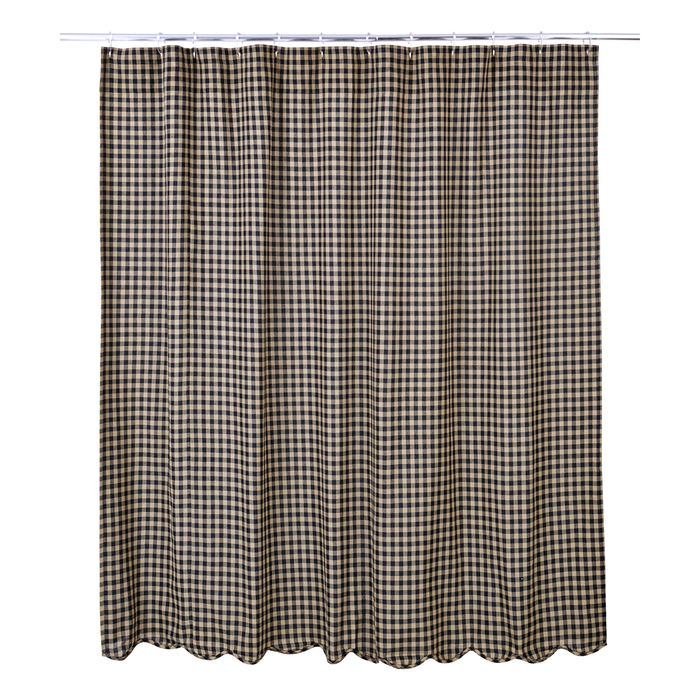 Black Check Scalloped Edge Shower Curtain