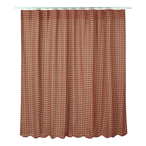 Burgundy Check Scalloped Edge Shower Curtain | Country Primitive Shower Curtain