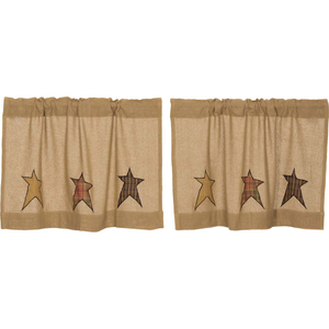 Stratton Burlap Applique Star Tier Curtain (Choose Size)