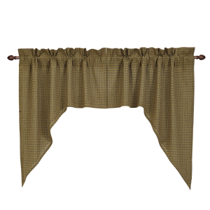 Tea Cabin Green Plaid Swag Curtain Set of 2 36x36x16  by VHC Brands