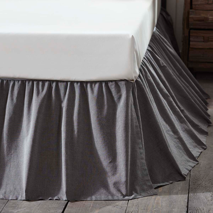 Black Chambray Bed Skirt (Choose Size)