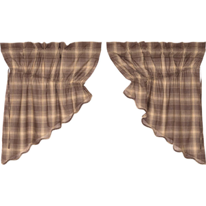 Dawson Star Scalloped Plaid Prairie Swag Curtains
