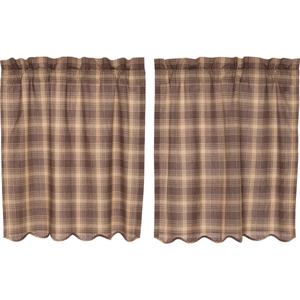 "Dawson Star Plaid Tier Curtains 36""L"