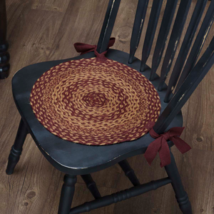 Burgundy Tan Jute Chair Pad - Set of 6