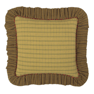 "Tea Cabin Fabric Ruffled 16""x16"" Pillow by VHC Brands"