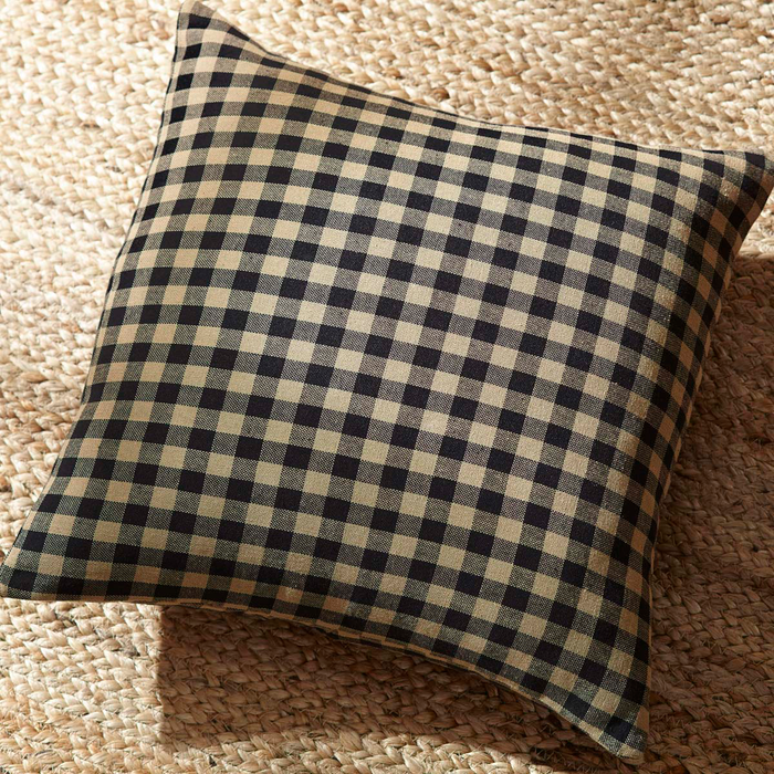 Black Check Fabric Pillow 16 inch