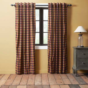 "Heritage Farms Primitive Check Panel Curtains 84""L"
