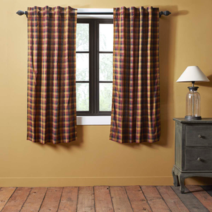 "Heritage Farms Primitive Check Short Panel Curtains 63""L"