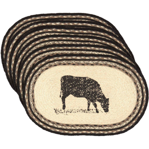 Sawyer Mill Charcoal Cow Jute Placemat Set of 6