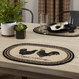 Sawyer Mill Charcoal Poultry Jute Placemat Set of 6