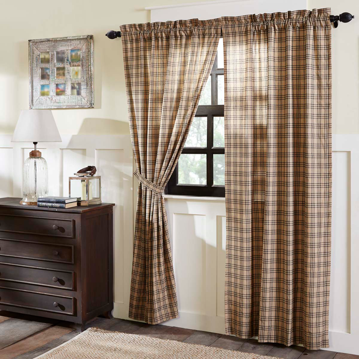 "Sawyer Mill Charcoal Plaid Panel Curtains 84""L"