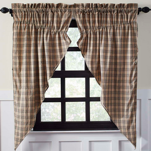 Sawyer Mill Charcoal Plaid Prairie Curtains
