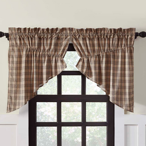 Sawyer Mill Charcoal Plaid Prairie Swag Curtains