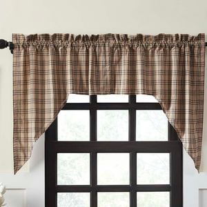 Sawyer Mill Charcoal Plaid Swag Curtains