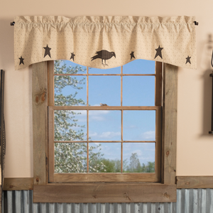 Kettle Grove Applique Crow and Star Valance
